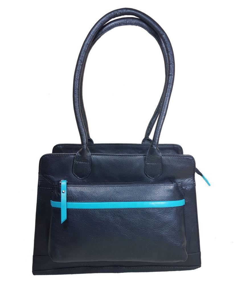 Goodwill Leather Art Black Pure Leather Shoulder Bag