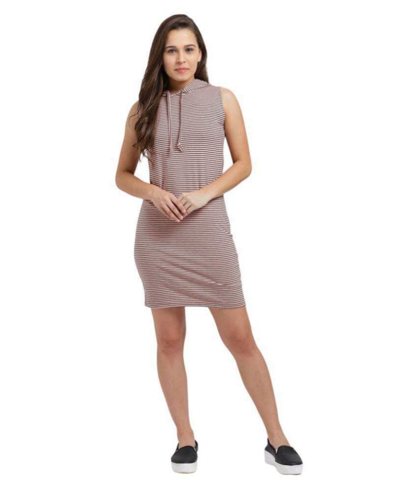 Trend Arrest Cotton Beige Bodycon Dress