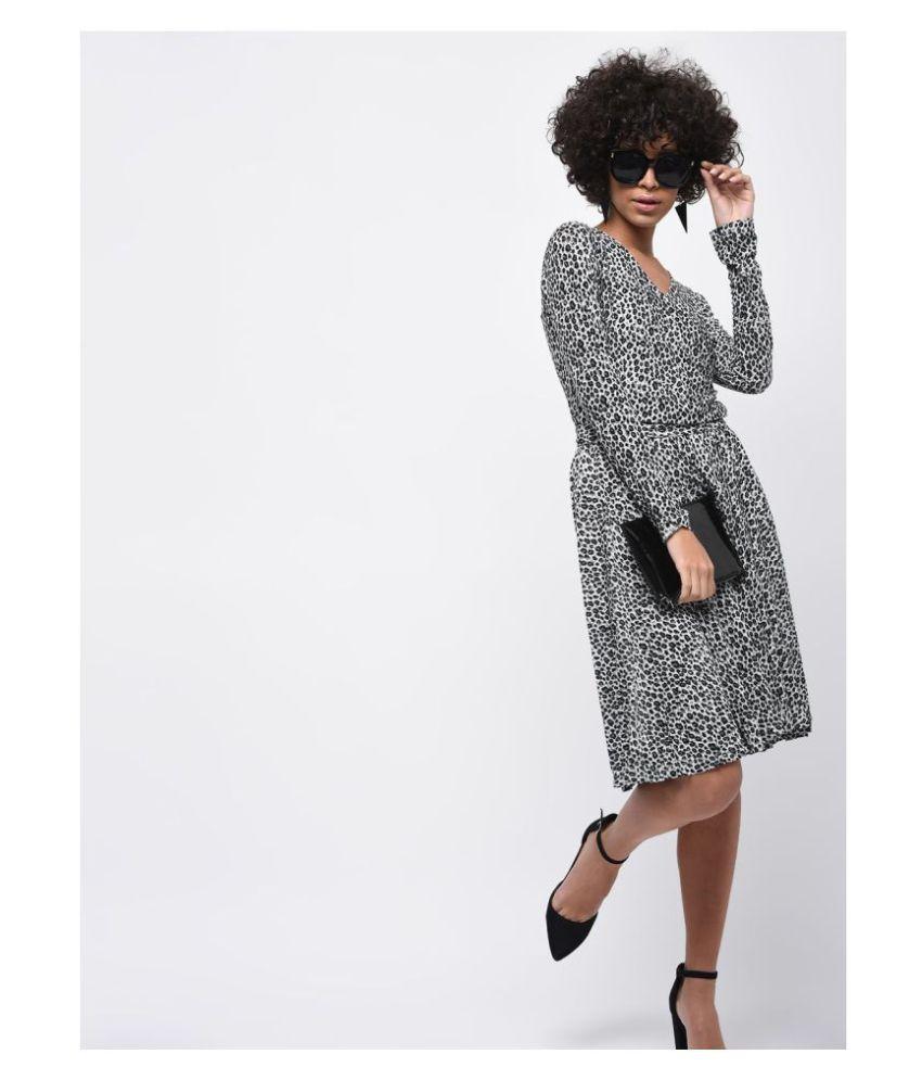 Veronique Cotton Grey A- line Dress