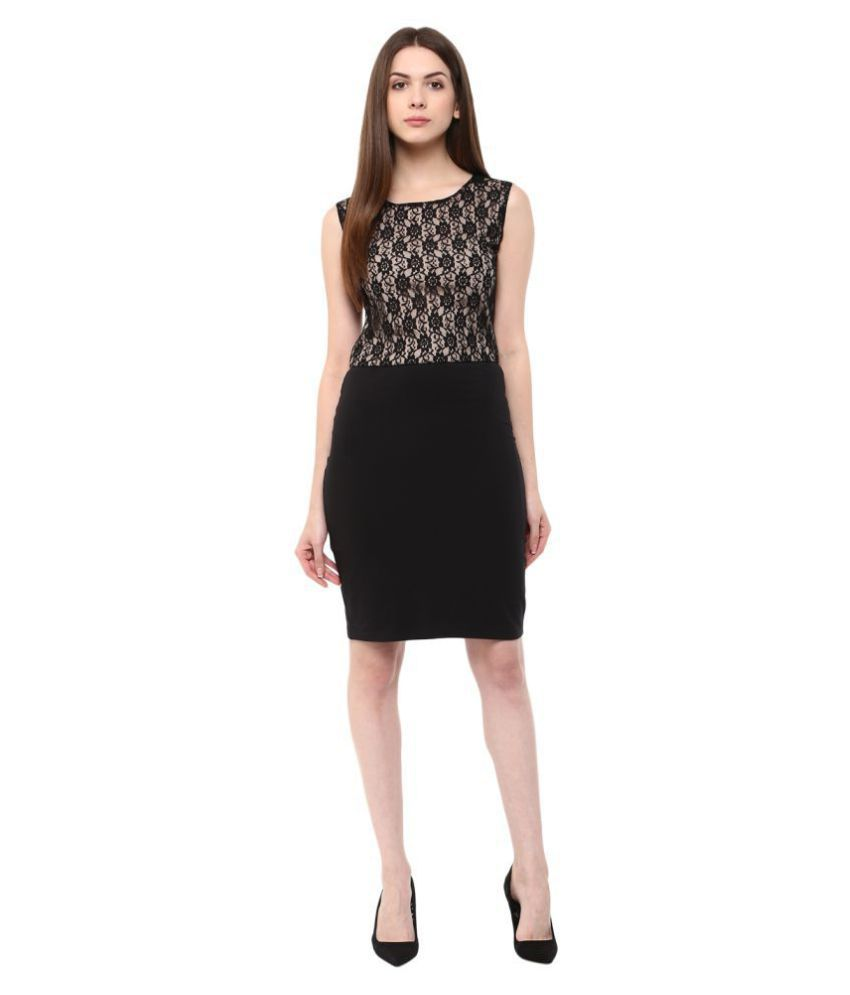 Veronique Cotton Lycra Black A- line Dress