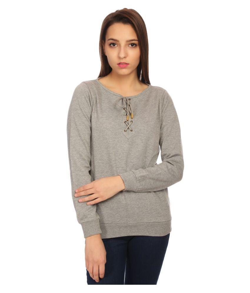 Veronique Woollen Grey Non Hooded Sweatshirt