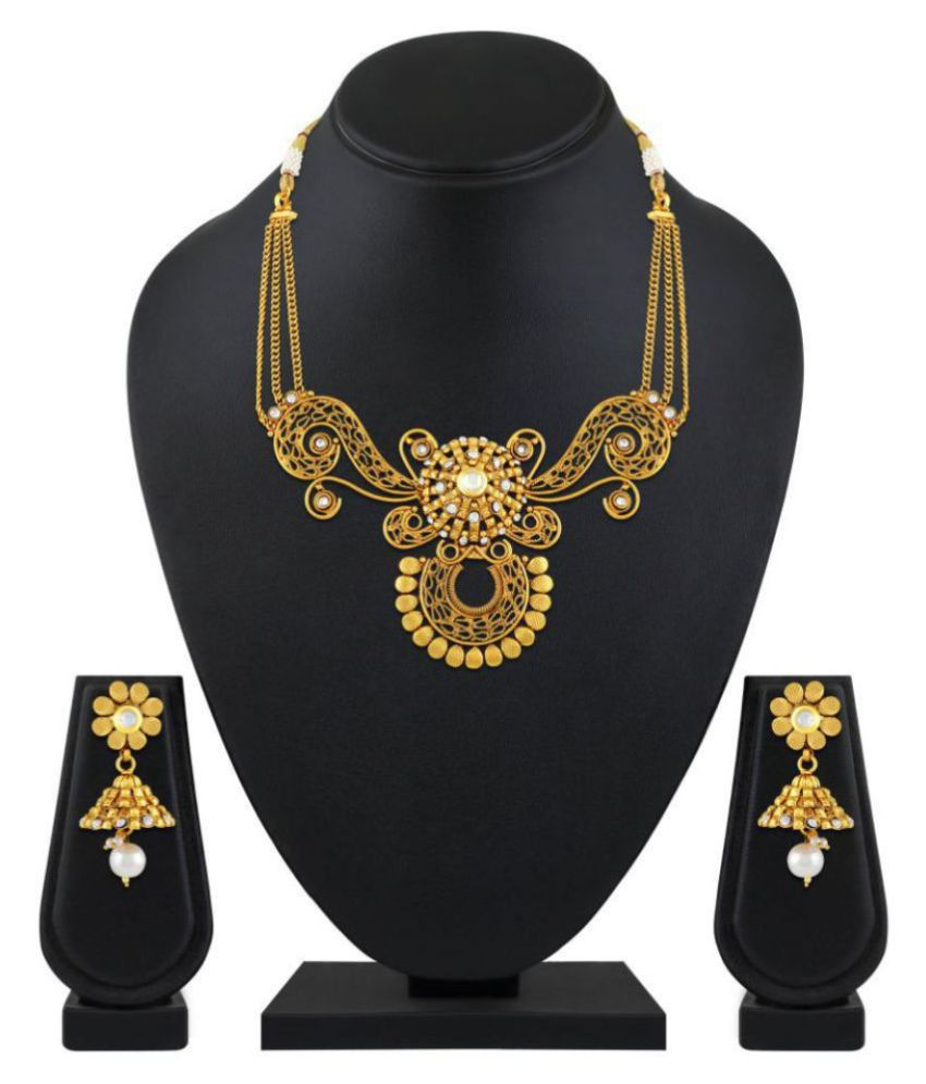 Asmitta Jewellery Copper Golden Choker Traditional Gold Plated Necklaces Set