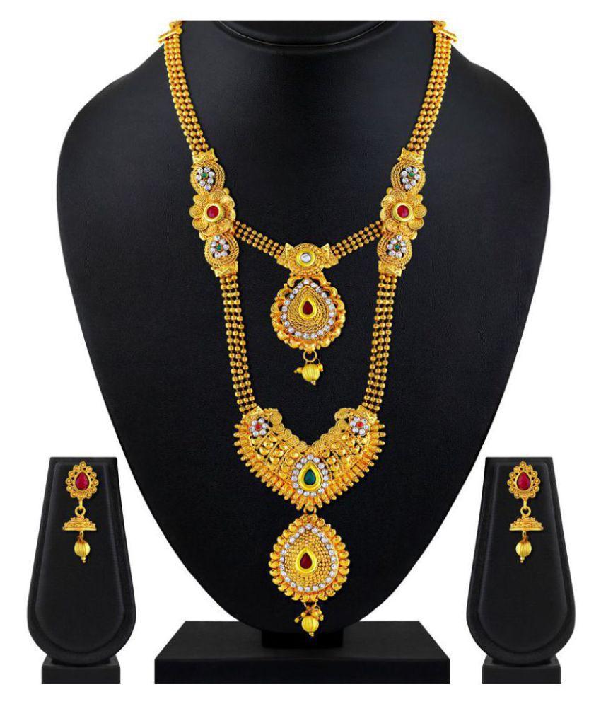 Asmitta Jewellery Zinc Golden Opera Traditional Gold Plated Necklaces Set