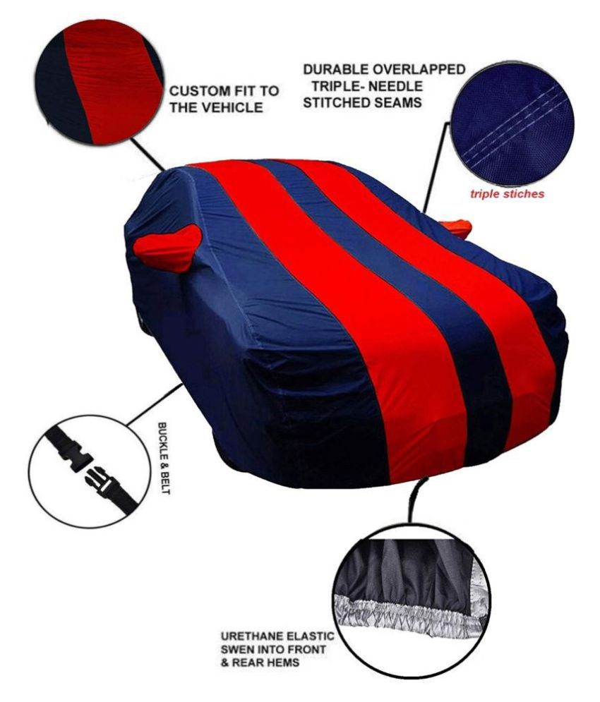 EKRS Dust Proof Car Body Cover for Renault Pulse with Mirror Pockets Triple Stitching & Light Weight (Navy Blue & RED Color) Model 2019-20