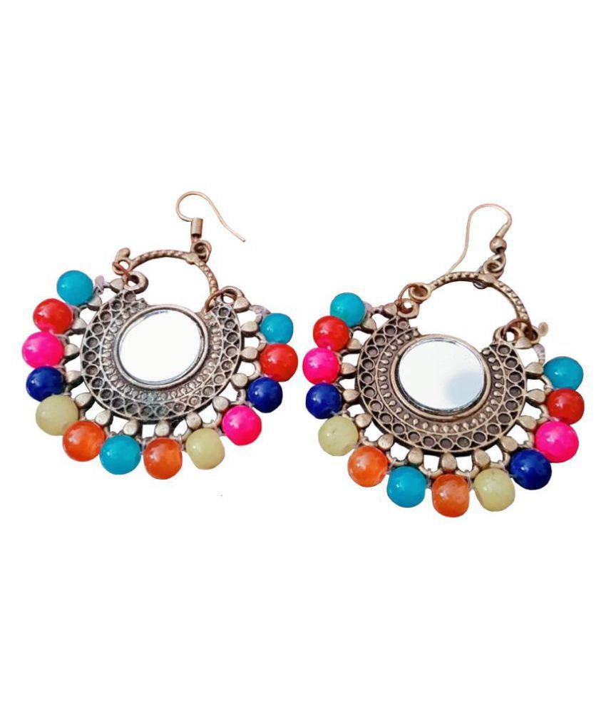 Fancy Party Wear Jewellery Afghani Multi colour Oxidized Silver Earrings for Girls and Women