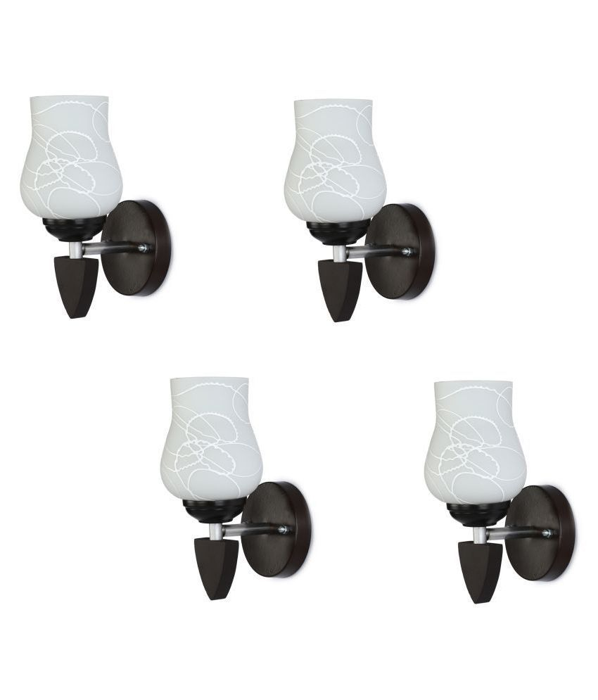 Somil Decorative Wall Lamp Light Glass Wall Light White - Pack of 4