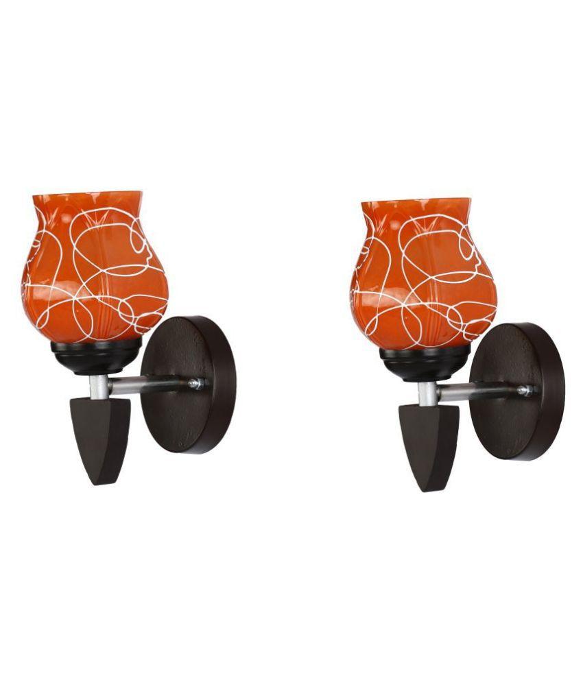 Somil Decorative Wall Lamp Light Glass Wall Light Orange - Pack of 2