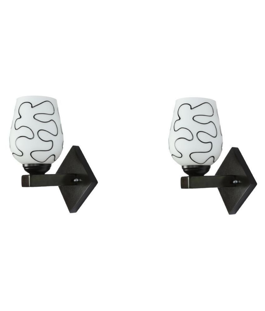 Somil Decorative Wall Lamp Light Glass Wall Light Black - Pack of 2