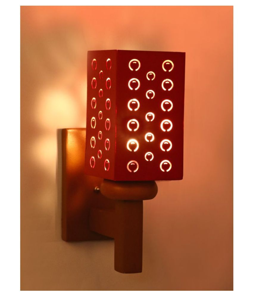 Somil Decorative Wall Lamp Light Wood Wall Light Red - Pack of 1