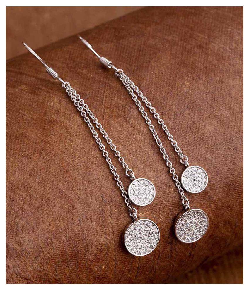 Voylla Gems Embellished Circles Drop Earrings