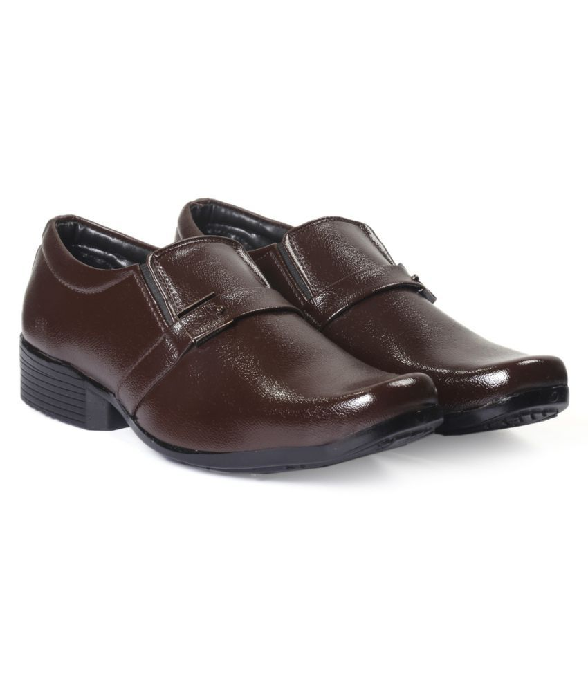 ZXYZO Slip On Artificial Leather Brown Formal Shoes