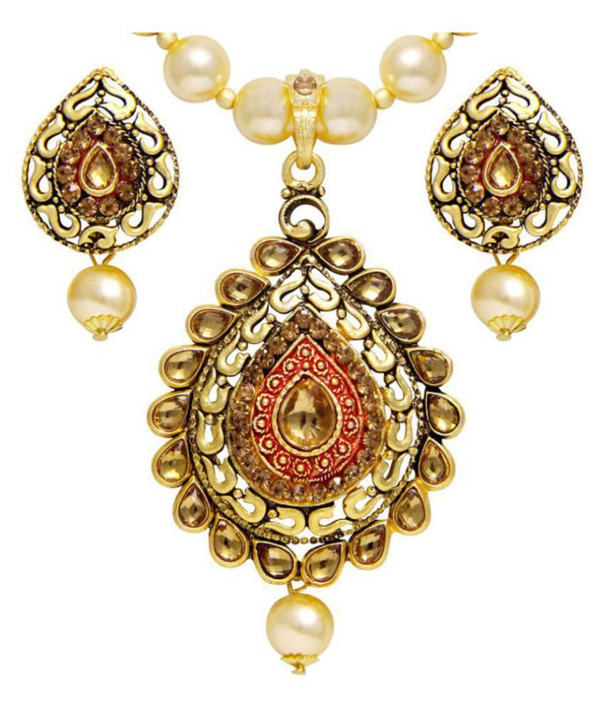 Asmitta Blossomy Gold Plated With LCT Stone Pendant Set For Women