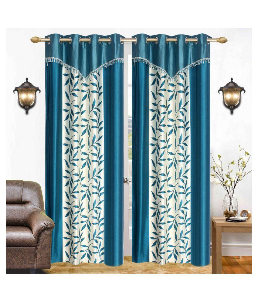 BM Creation Set of 2 Door Semi-Transparent Eyelet Polyester Curtains Blue