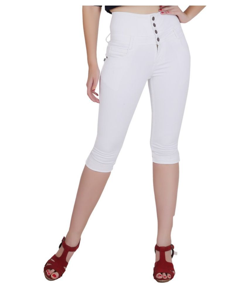 FORTH White Cotton Lycra Washed Capri