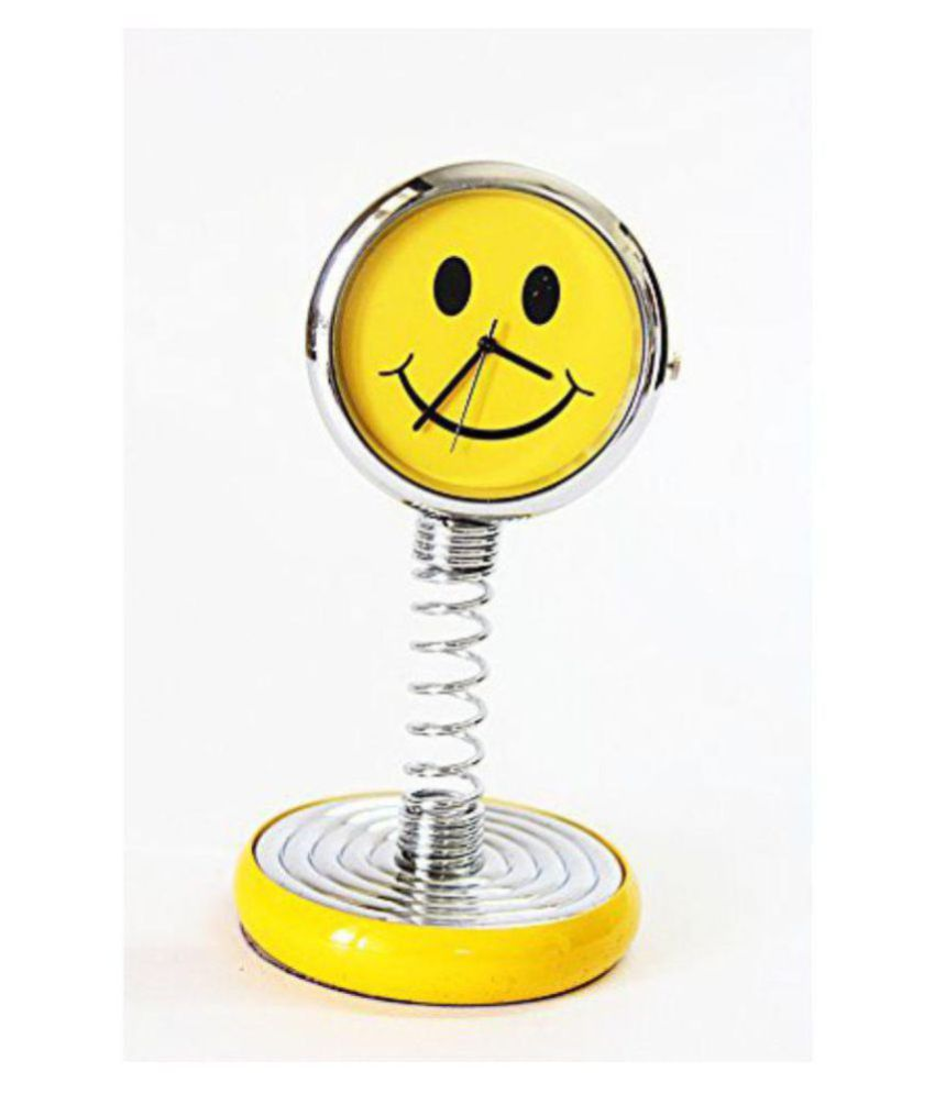 Laps of Luxury ® Yellow Color Smiley Spring Clock for Car Dashboard