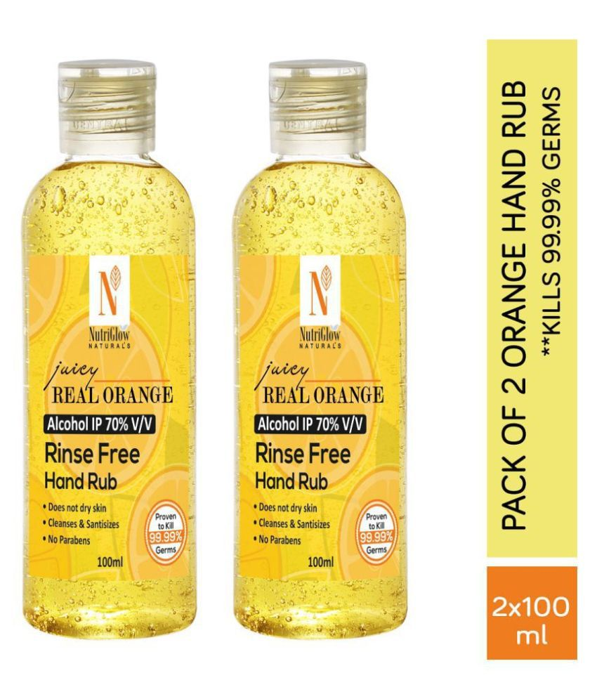 NutriGlow NATURAL'S Orange (2*100ml) Hand Sanitizer 200 mL Pack of 2