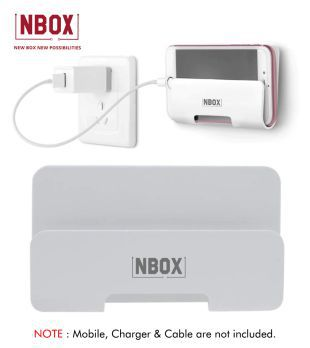 NBOX Mobile Phone Wall Holder with Adhesive Wall Mount   White