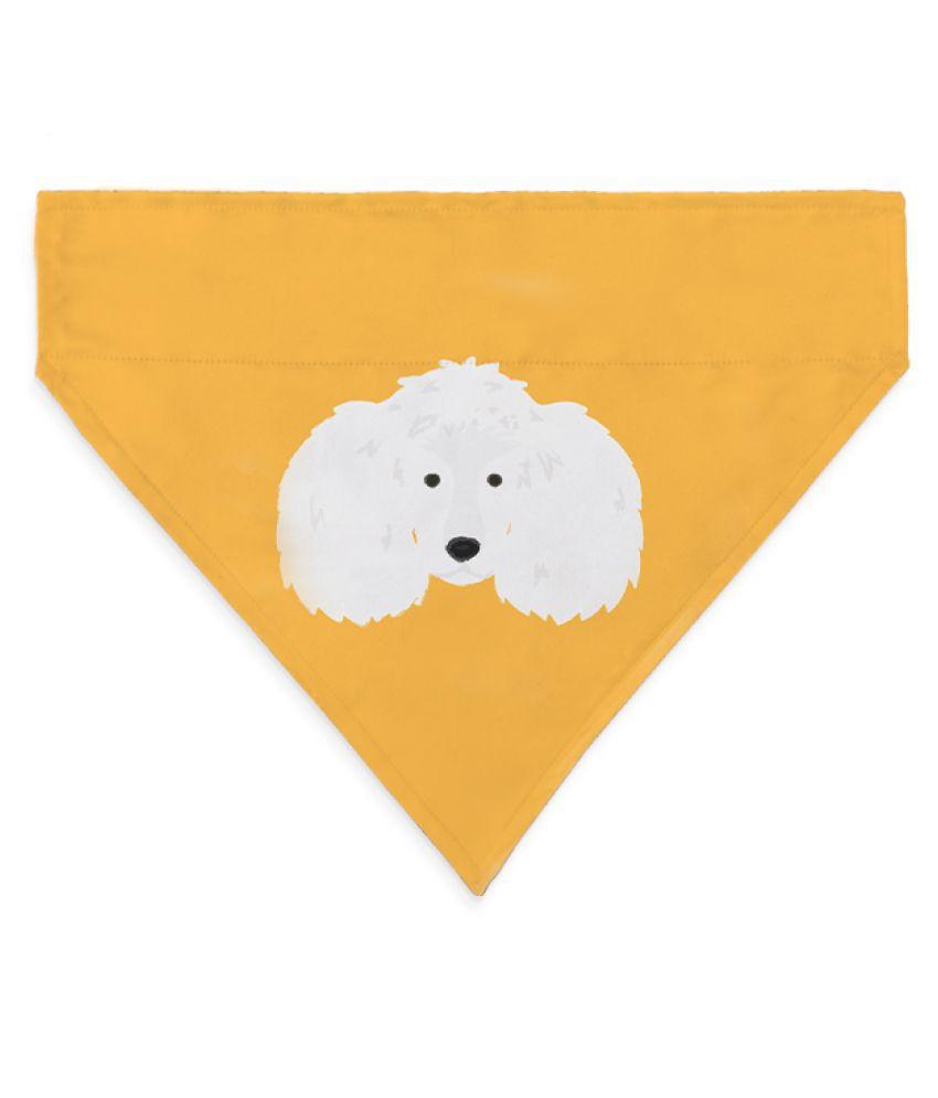 Right Gifting Digital Printed Satin Dog Bandana/Dog Scarf With Loop & Reversible (Medium,Yellow)