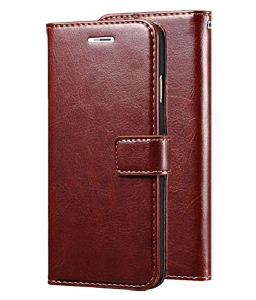 Samsung Galaxy J2  2016  Flip Cover by Kosher Traders   Brown Original Vintage Look Leather Wallet Case