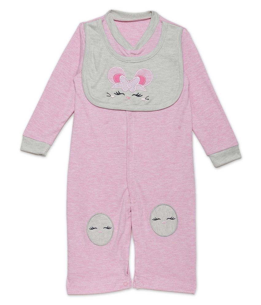 Rabbit Pocket Cotton Long Sleeve Fancy Jumpsuit Bodysuit Sleep Suit Pink For New Born Boys and Girls Unisex Single Pack 6 to 9 Months
