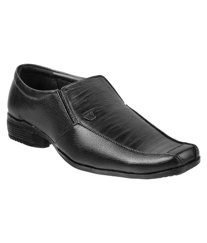 WALKWAY Slip on Artificial Leather BLACK Formal Shoes