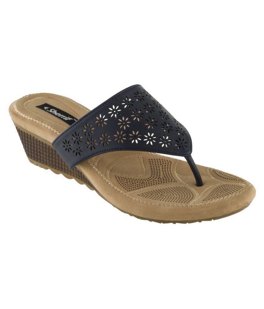 sherrif shoes Navy Wedges Heels