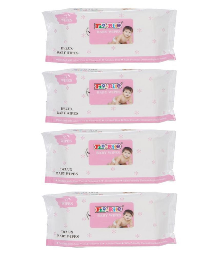 Flo-rite Premium Baby Cleaning Wet Wipes - Pack of 4 (72 Wipes in Each)