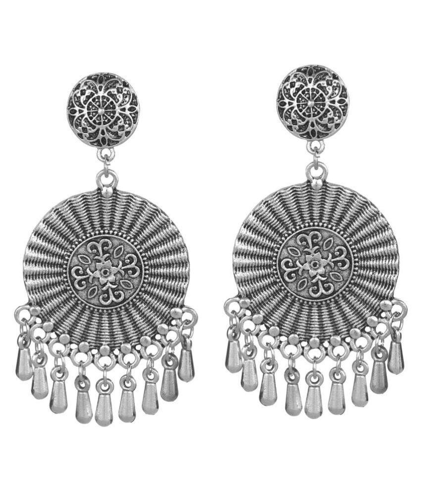 Archi Collection Fashion Jewellery Stylish Antique Boho Vintage Oxidised Silver Drop Tassel Dangle Earrings Set