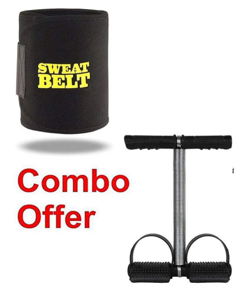 Combo of Sweat Belt and Single Spring Tummy Trimmer Abs Exerciser Waist-Trimmer for Burn Off