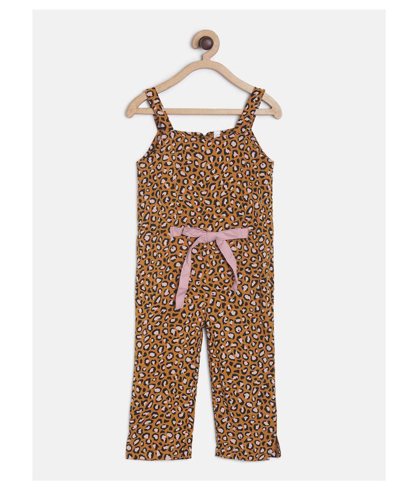 Tales & Stories Baby Girls Mustard Yellow Animal Print Cotton Full Length Jumpsuit