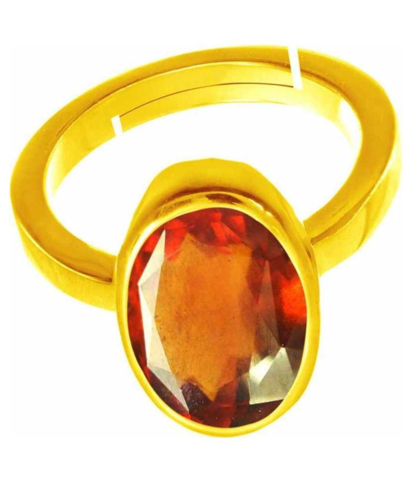 11.25 Carat Gomed Antique Ring Original Natural Certified Brown Hessonite Garnet Oval Cut Gemstone Garnet Ring January Birthstone Gold Plated Adjustable Ring Size 16-24