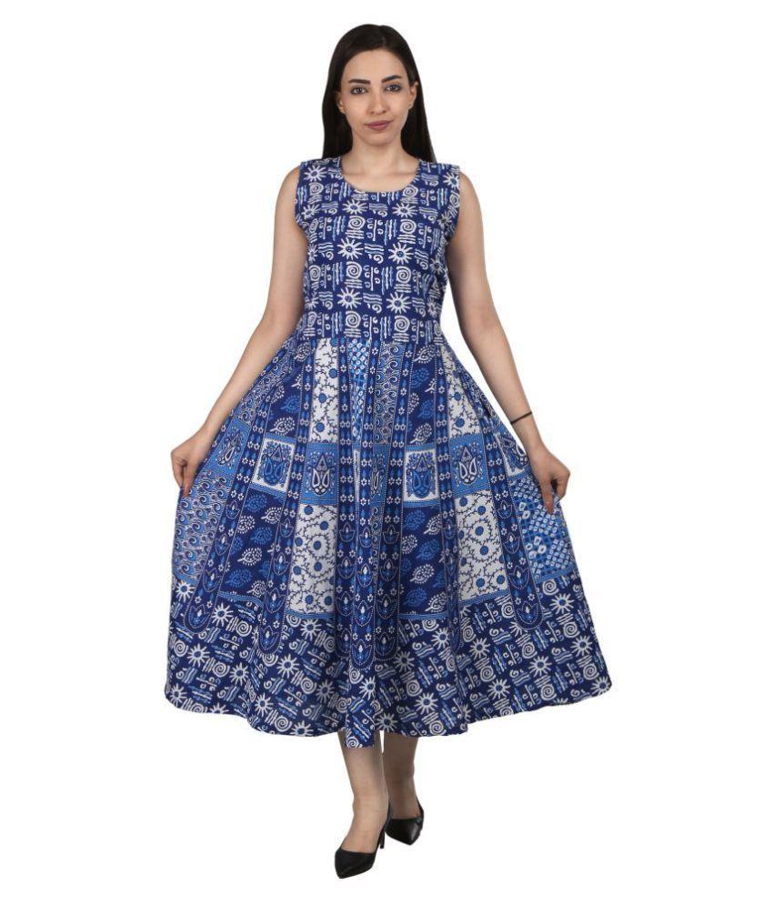SRINIVASA VASTRAM CORPORATION Cotton Multi Color Fit And Flare Dress