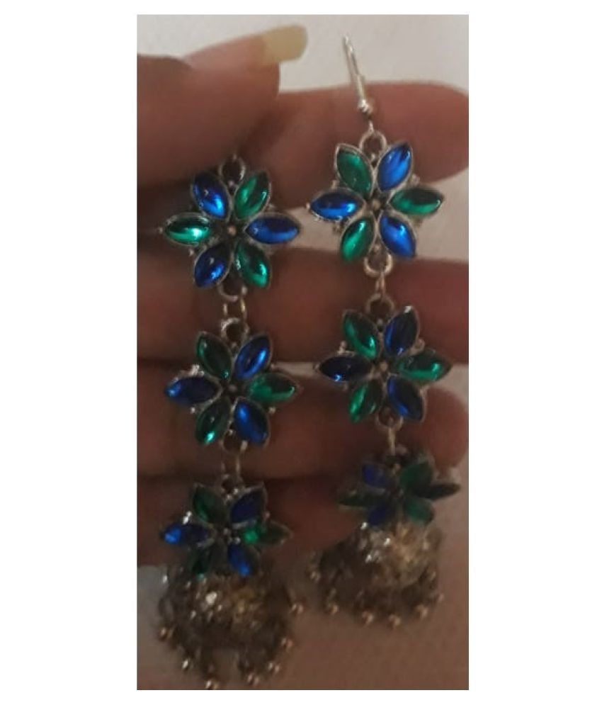 BLUE AND SILVER JHUMKI