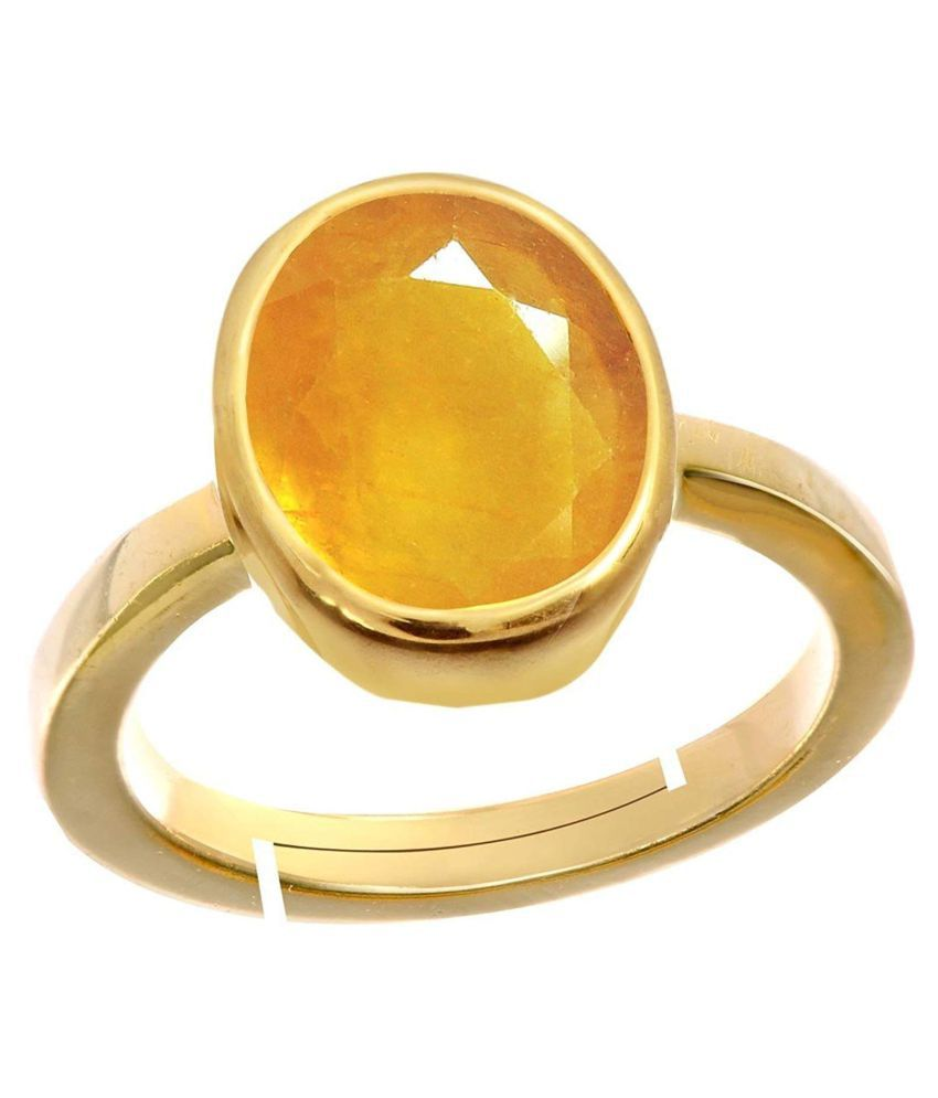 MrDK Certified Unheated Untreatet 5.25 Ratti  A+ Quality Yellow Sapphire Pukhraj Gemstone Ring For Women's and Men's