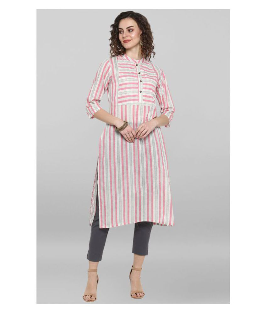 Janasya Multicoloured Cotton Straight Kurti