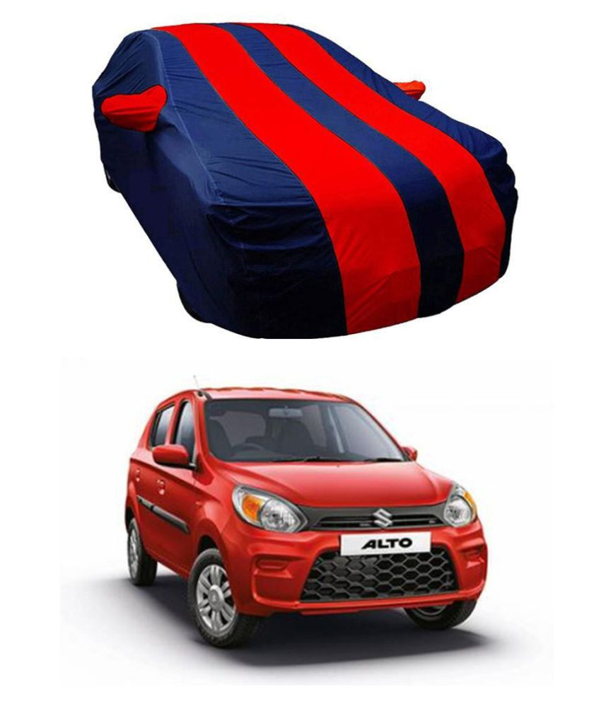 Soami Dust-proof Car Body Cover for Maruti Suzuki ALTO 800 with Mirror Pockets Triple Stitching and Light Weight (Navy Blue & RED Color) Model 2019-20