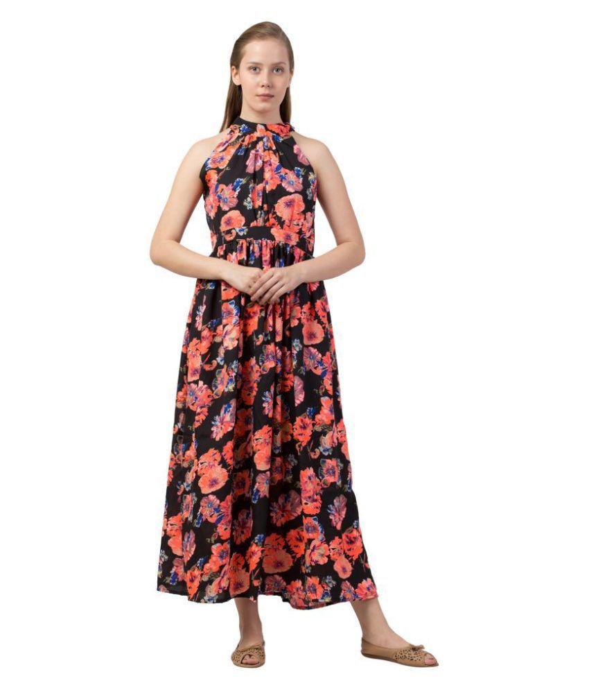 Triraj Poly Crepe Multi Color A- line Dress