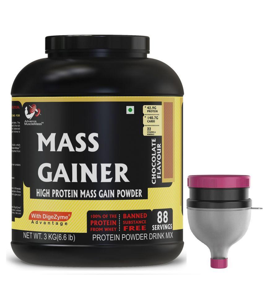 Strava AdvanceMuscleMass Mass Gainer Digestive Enzyme Blend With Funnel 3 kg Mass Gainer Powder