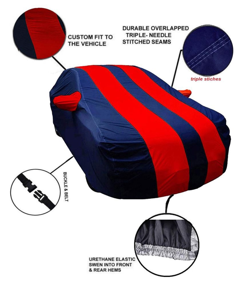 EKRS Dust Proof Car Body Cover for Maruti Suzuki Wagon R with Mirror Pockets Triple Stitching & Light Weight (Navy Blue & RED Color) Model 2019-20