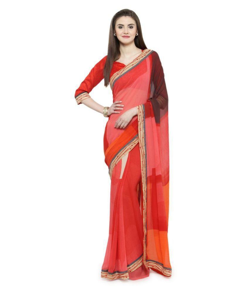 Shaily Retails Red Georgette Saree