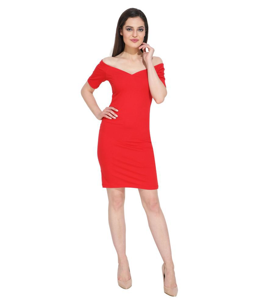 Filsrich Cotton Red Fit And Flare Dress