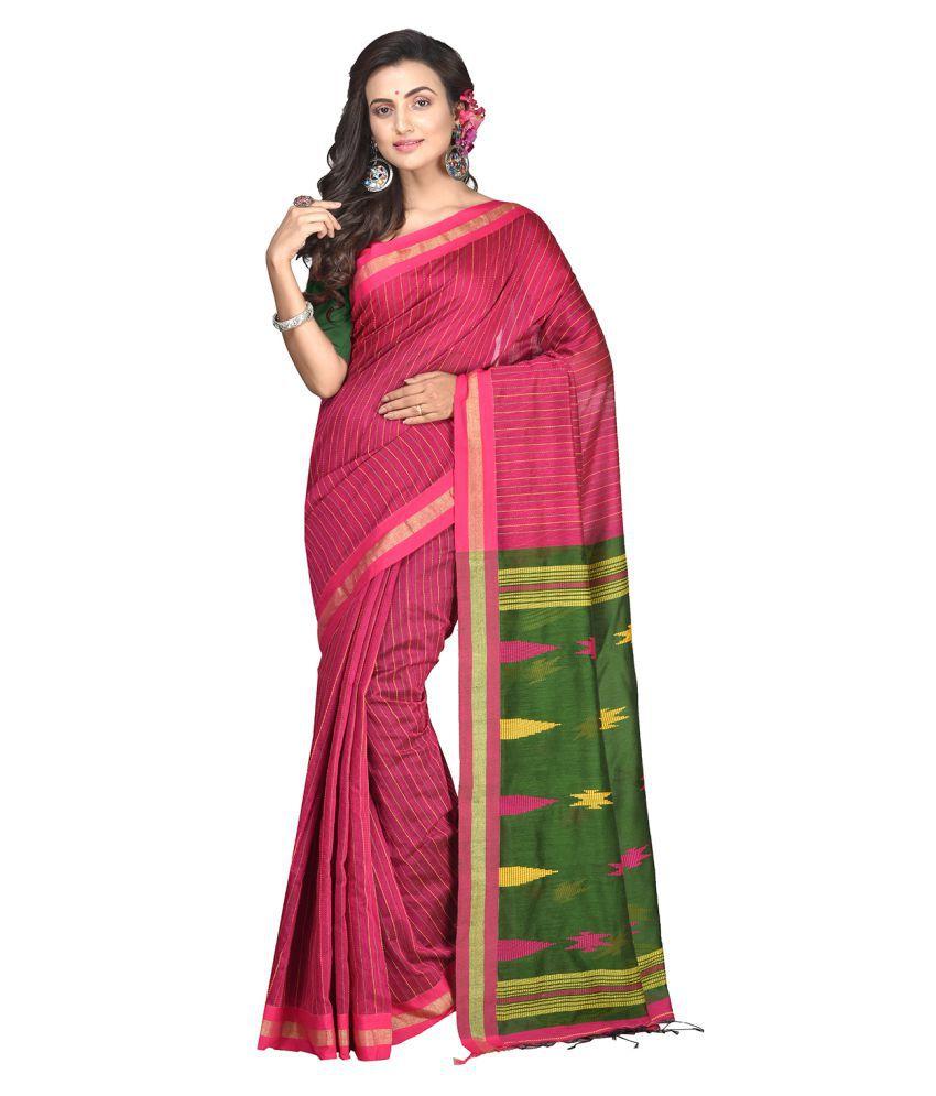 crochetin Green,Pink,Yellow Bengal cotton Saree
