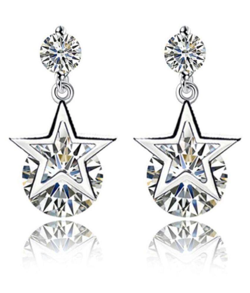 Beautiful Star Zircon Silver Plated Earrings For Women & Girls