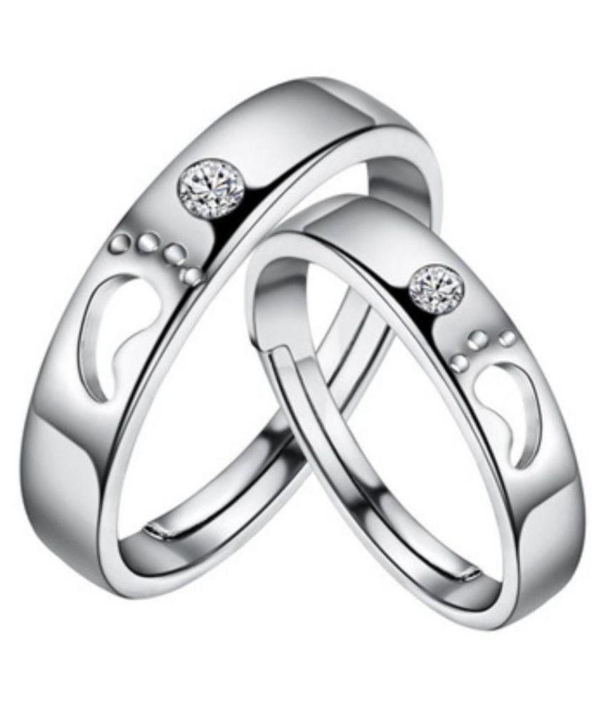 King & Queen Sterling Silver Swarovski Zirconia Adjustable Couple Rings
