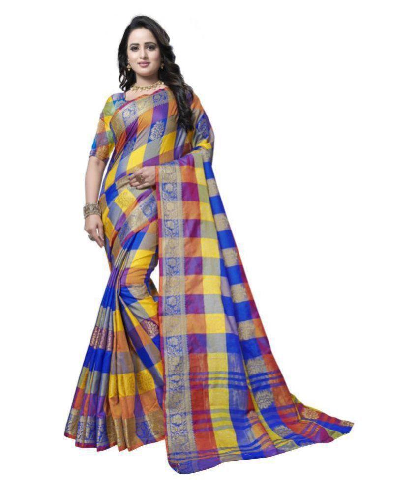 SAINOOR Blue Art Silk Saree