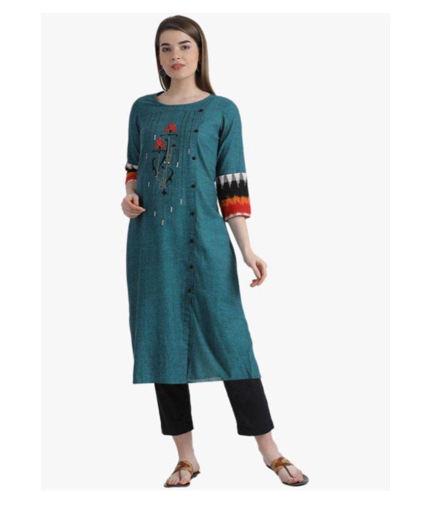 Kira Turquoise Cotton Straight Kurti
