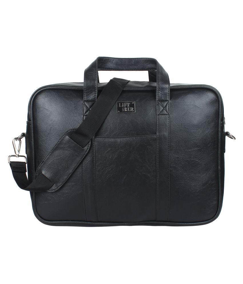Liftible Black Leather Office Bag