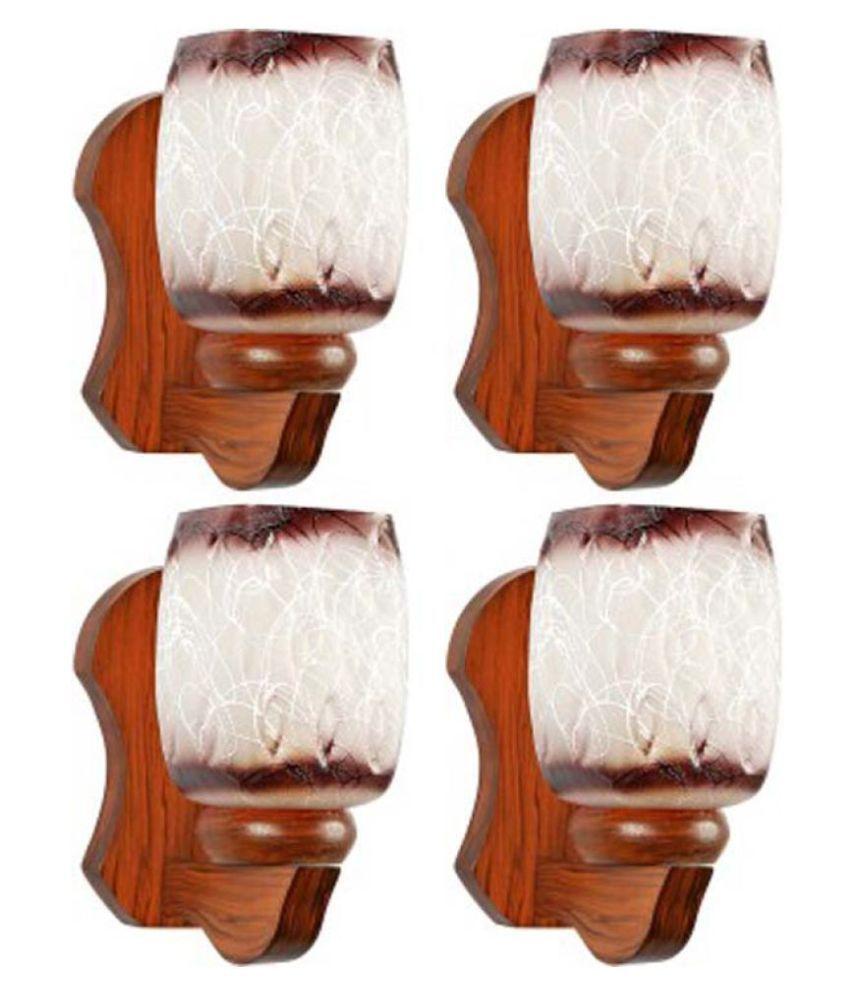 AFAST Decorative & Designer Glass Wall Light Brown - Pack of 4