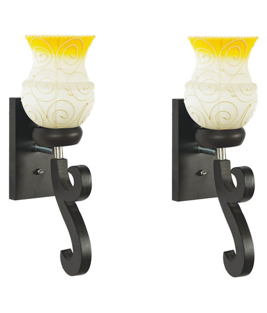 AFAST Decorative & Designer Glass Wall Light Yellow - Pack of 2