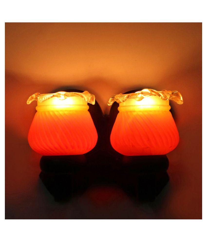 AFAST Decorative & Designer Glass Wall Light Orange - Pack of 1